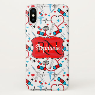 Cute Stethoscope Nurse   Doctor EKG Pattern Name iPhone X Case