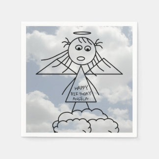 Cute Stick Figure Angel Girl on Clouds Birthday Paper Napkin