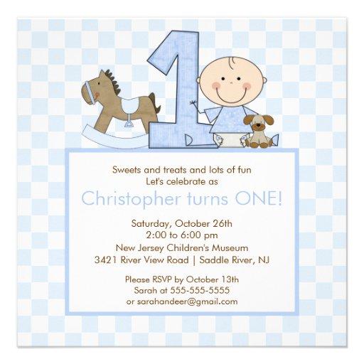 Cute Stick figure Boy 1st  Birthday Invitation