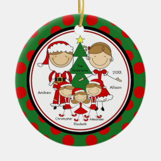 Cute Stick Figure Family of 5 Christmas Ornament