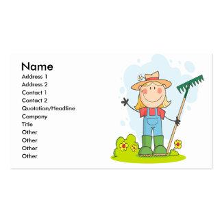 cute stick figure girl gardener farmer business cards
