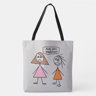 Cute Stick Figure Girlfriends Gossiping Design Tote Bag