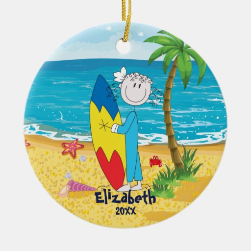 Cute Stick Figure Surfer Girl Christmas Ornament