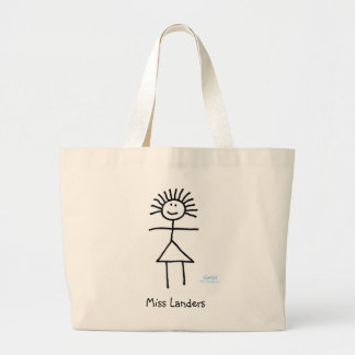 Cute Stick Figure Teacher Cartoon With Name Book Large Tote Bag