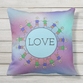 Cute Stick Figures Blue Circle Planet LOVE Message Cushion