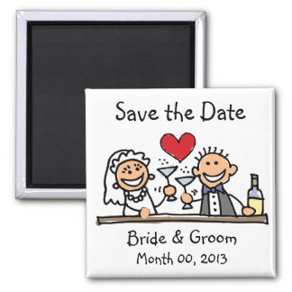 Cute Stick Figures Save the Date Magnets
