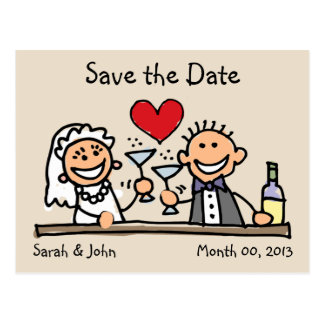 Cute Stick Figures Save the Date Postcards