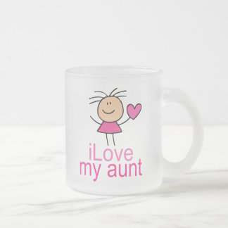 Cute Stick Girl Love My Aunt Gift Frosted Glass Coffee Mug