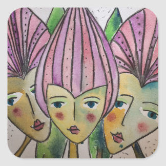 cute stickers of three identical sisters