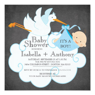 Cute Stork Chalkboard Boy Baby Shower Invitatation 13 Cm X 13 Cm Square Invitation Card