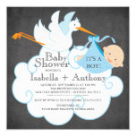 Cute Stork Chalkboard Boy Baby Shower Invitatation 13 Cm X 13 Cm Square Invitation Card