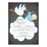 Cute Stork Chalkboard Boy Baby Shower Invitatation 13 Cm X 18 Cm Invitation Card