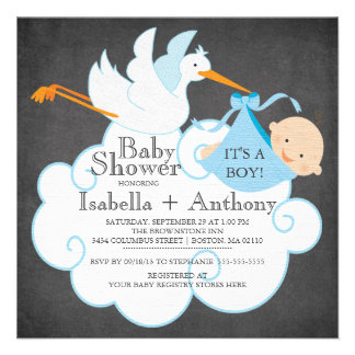 Cute Stork Chalkboard Boy Baby Shower Invitatation Personalized Invites