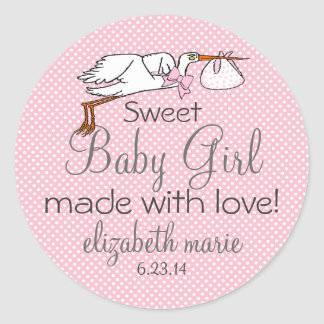 Cute Stork Pink Baby Shower Guest Favor Round Sticker