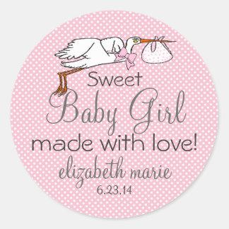 Cute Stork Pink Baby Shower Guest Favor Round Sticker