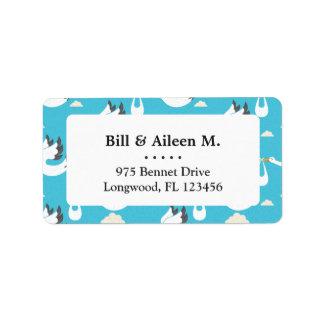 Cute Storks carrying babies pattern Address Label