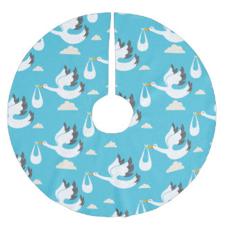 Cute Storks carrying babies pattern Brushed Polyester Tree Skirt