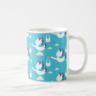 Cute Storks carrying babies pattern Coffee Mug
