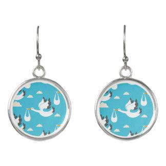 Cute Storks carrying babies pattern Earrings