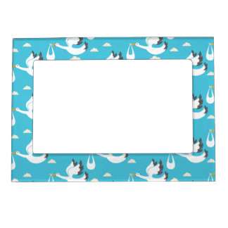 Cute Storks carrying babies pattern Frame Magnet