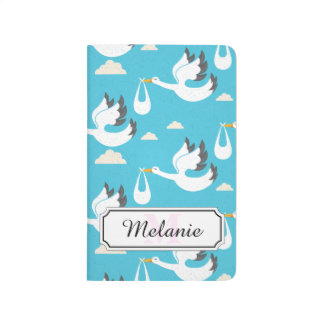 Cute Storks carrying babies pattern Journal