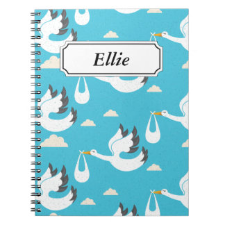 Cute Storks carrying babies pattern Notebook