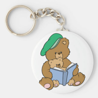 Cute Story Time Teddy Bear Design Basic Round Button Key Ring