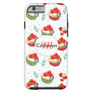 Cute Strawberry and Cream Topped Yummy Cup Cakes Tough iPhone 6 Case