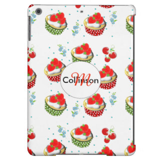 Cute Strawberry and Cream Topped Yummy Cup Cakes Case For iPad Air