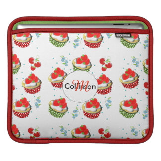 Cute Strawberry and Cream Topped Yummy Cup Cakes iPad Sleeves