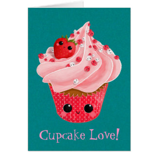 Cute Strawberry Cupcake Card