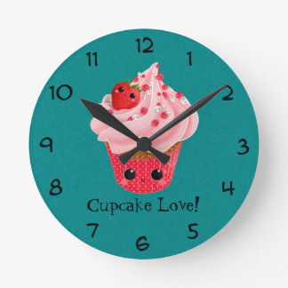 Cute Strawberry Cupcake Wall Clocks