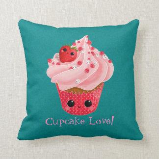 Cute Strawberry Cupcake Throw Pillow