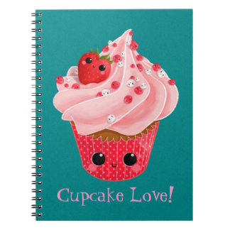 Cute Strawberry Cupcake Spiral Notebooks