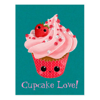 Cute Strawberry Cupcake Postcard