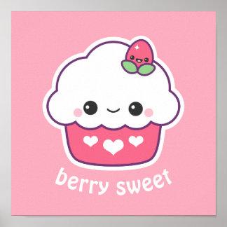 Cute Strawberry Cupcake Poster
