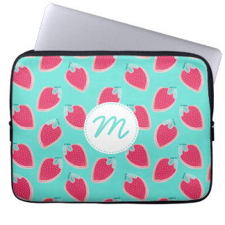 Cute Strawberry Fruit Pattern & Monogram Laptop Sleeve