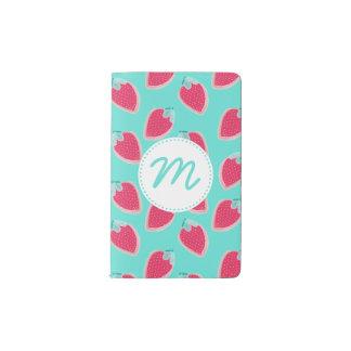 Cute Strawberry Fruit Pattern & Monogram Pocket Moleskine Notebook
