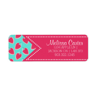 Cute Strawberry Fruit Pattern Name & Address Return Address Label