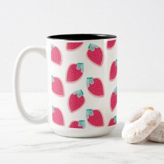 Cute Strawberry Fruit Pattern Two-Tone Coffee Mug