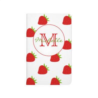 Cute Strawberry Pattern Monogram Pocket Journal