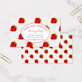 Cute Strawberry Pattern Personalized Business Card