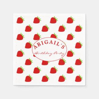 Cute Strawberry Pattern Personalized Napkin Paper Napkin