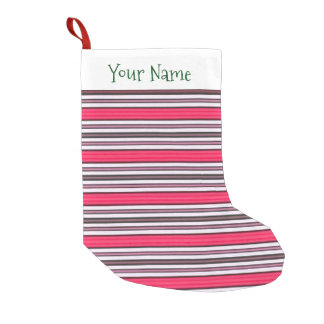 Cute Strawberry Red Striped Pattern Add Your Name Small Christmas Stocking