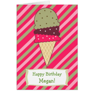 Cute Strawberry Stripes Ice Cream Cone Birthday Card