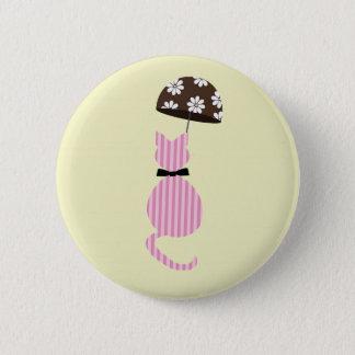 Cute Stripe Cat with Umbrella 6 Cm Round Badge