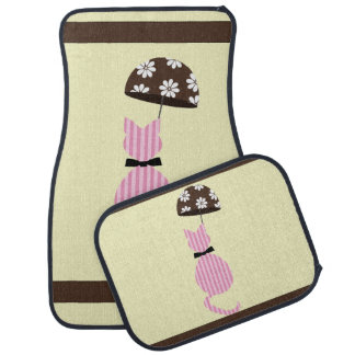 Cute Stripe Cat with Umbrella Car Mat