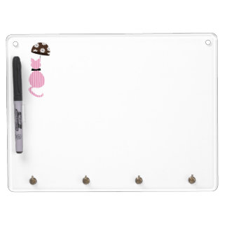 Cute Stripe Cat with Umbrella Dry Erase Board With Key Ring Holder