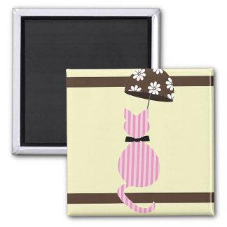 Cute Stripe Cat with Umbrella Magnet