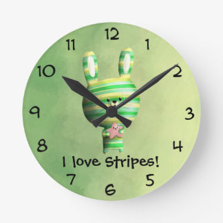 Cute Striped Bunny Round Clock
